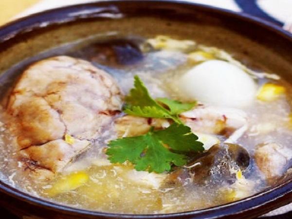 Cách nấu súp gà óc heo