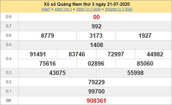 Thống kê XSQNM 28/7/2020 chốt KQXS Quảng Nam thứ 3