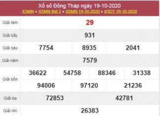 Thống kê XSDT 26/10/2020 chốt lô VIP Đồng Tháp thứ 2